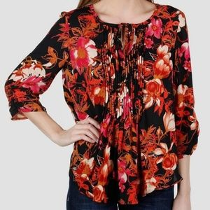 Zoe +Phoebe Pleated Multi Floral 3/4 Top SZ L NWT